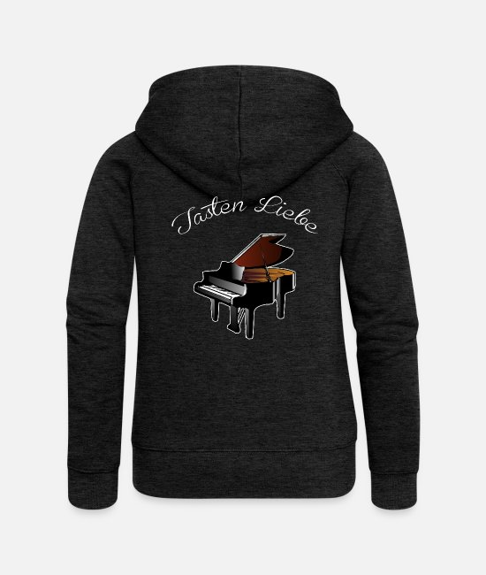 Wing Hoodies & Sweatshirts - BUTTONS LOVE PIANIST SHIRT - Women's Premium Zip Hoodie charcoal grey
