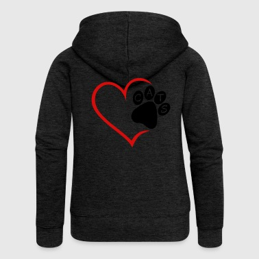 Pet Cat Cats Heart Paw Pet Animals Cat Cats - Women's Premium Hooded Jacket
