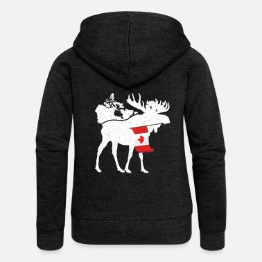 Vancouver Moose Canada Flag Canadian Maple Syrup Poison - Chaqueta con capucha premium mujer