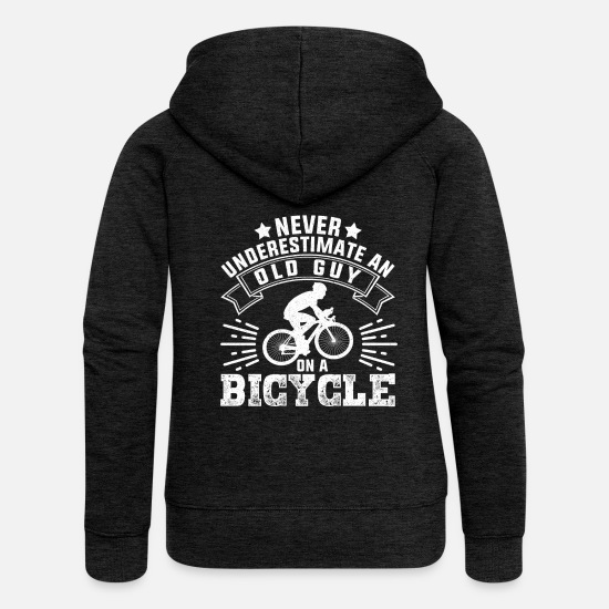Old Guy Bicycle Sweaters & hoodies - Nooit onderschat bij Old Guy On A Bicycle - Vrouwen zip hoodie houtskool
