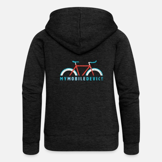 Nødstedte Sweatshirts & hættetrøjer - Fixie - Min mobile enhed er min Single Speed Bike - Premium hættejakke dame charcoal