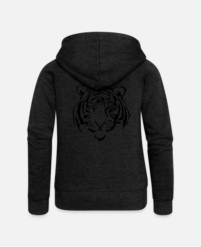 Honor Hoodies & Sweatshirts - tiger - Women's Premium Zip Hoodie charcoal grey