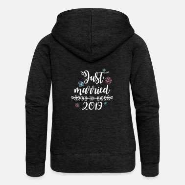 Giorno Del Matrimonio T-Shirt da matrimonio Just Married 2019 per le donne - Felpa con zip premium da donna