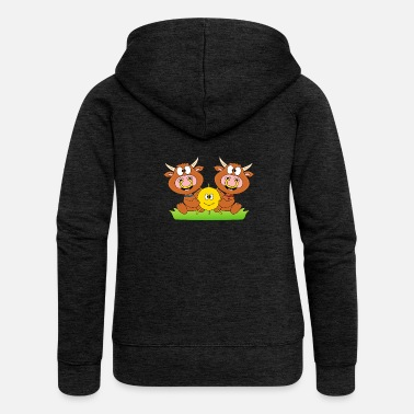 Humour Cows - cattle - let the sun into your heart - Women's Premium Zip Hoodie