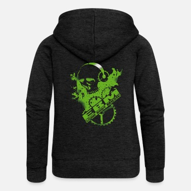 Cyber Punk EBM Electronic Body Music Design green with skull - Women's Premium Hooded Jacket