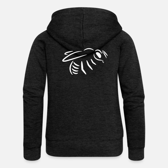 Bee Hoodies & Sweatshirts - Bee drawing (line drawing) - Women's Premium Zip Hoodie charcoal grey