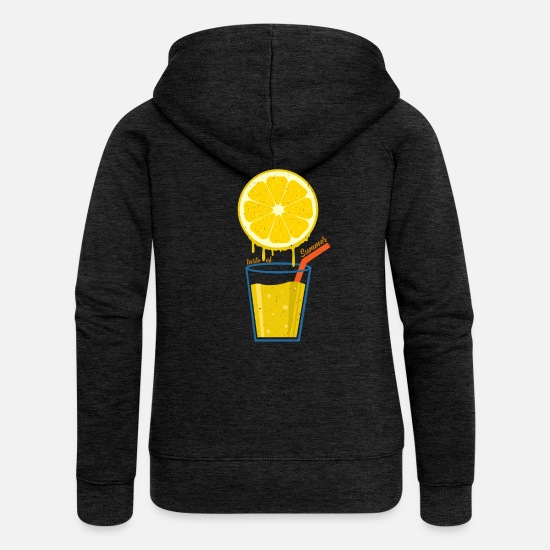 Gift Idea Hoodies & Sweatshirts - Button Of Summer | Lemon lemonade sun gift - Women's Premium Zip Hoodie charcoal grey