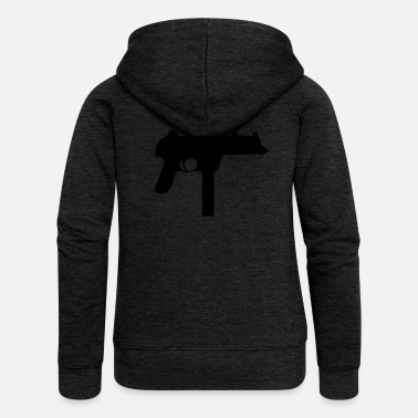Uzi Vector Gun Silhouette - Women's Premium Hooded Jacket