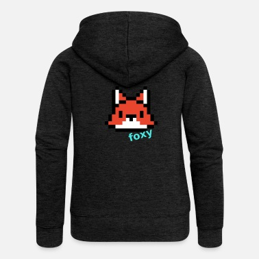 Graphic Picture Computer Pixel Fox (foxy) - Women's Premium Zip Hoodie