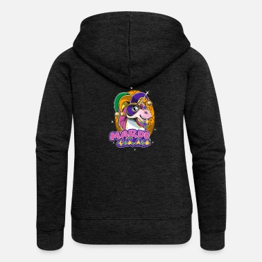 Festivals Mardi Gras Sweet Unicorn With Cute Mask - Women's Premium Zip Hoodie
