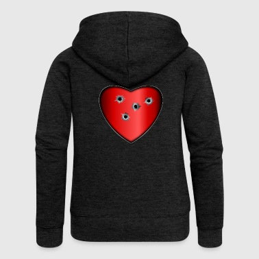 Bullet Hole Heart red bullet hole - Women's Premium Hooded Jacket