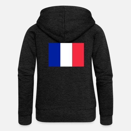 Country Hoodies & Sweatshirts - France flag - Women's Premium Zip Hoodie charcoal grey