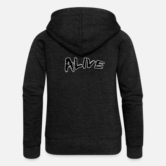 Alive Hoodies & Sweatshirts - alive - Women's Premium Zip Hoodie charcoal grey