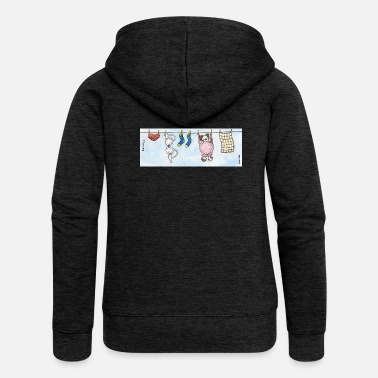 Long Underwear Mug - Cute Fluffy Dog 'Barnaby' on a Washing Line - Women's Premium Zip Hoodie