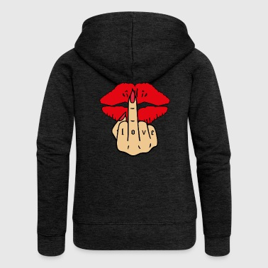 Kissing Love middle finger tattoo - Women's Premium Hooded Jacket