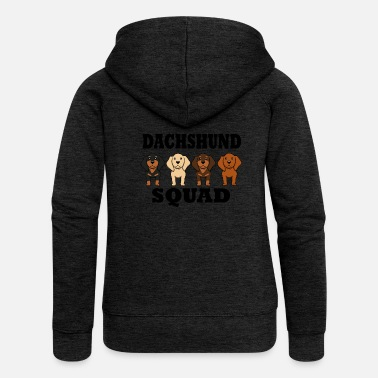 Stand Dachshund Squad Funny Dogs Team Saying - Women's Premium Zip Hoodie