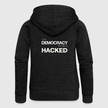 Felpa Our Democracy Has Been Hacked #mr.robot - Felpa con zip premium da donna