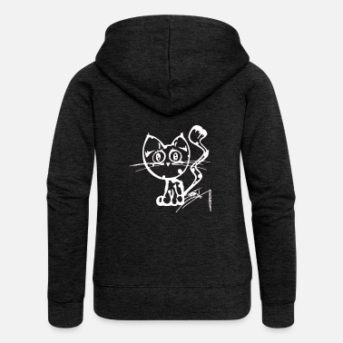 CAT Käitycat white - Women's Premium Zip Hoodie
