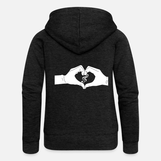 Key Hoodies & Sweatshirts - Heart hands Violin key - Women's Premium Zip Hoodie charcoal grey