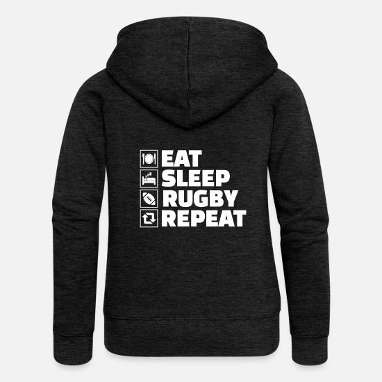 Rugby Hoodies & Sweatshirts - Eat Sleep Rugby Repeat Tackle Sports Player - Women's Premium Zip Hoodie charcoal grey