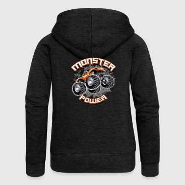 11A-02 MONSTER POWER TRUCK - FAT WHEEL - Women's Premium Hooded Jacket
