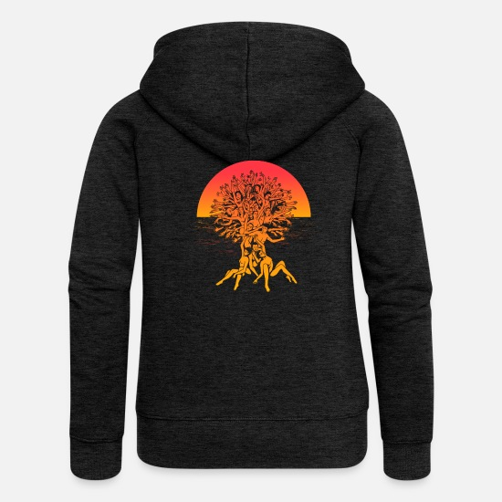 Enviromental Hoodies & Sweatshirts - Tree of life Summer Sunset Spiritual Yoga Shirt - Women's Premium Zip Hoodie charcoal grey