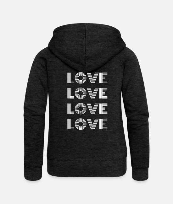 Heart Hoodies & Sweatshirts - Love Love Love Love - Women's Premium Zip Hoodie charcoal grey