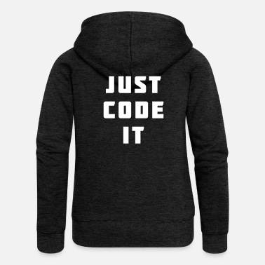Code Just code it - Rozpinana bluza damska z kapturem Premium