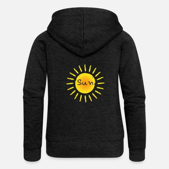 Light Hoodies & Sweatshirts - Sun Sun. - Women's Premium Zip Hoodie charcoal grey