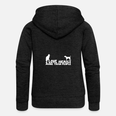 Animal Rights i love animals more than people shirt - Women's Premium Hooded Jacket