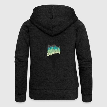 Brush gift skyline city silhouette painter - Women's Premium Hooded Jacket