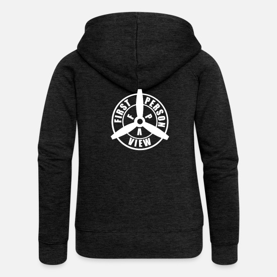 Glasses Hoodies & Sweatshirts - FIRST PERSON VIEW - Women's Premium Zip Hoodie charcoal grey