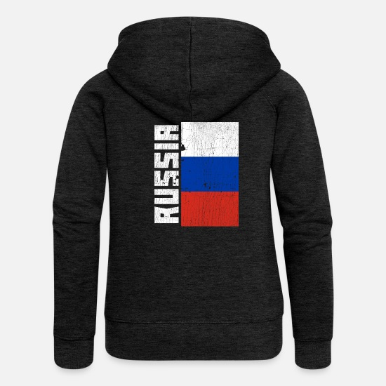 Symbol  Hoodies & Sweatshirts - Russia Flag Country Coat of Arms Distressed Gift - Women's Premium Zip Hoodie charcoal grey