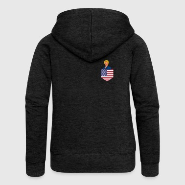 Democratic Clinton in a Stars and Stripes Pocket - Women's Premium Hooded Jacket