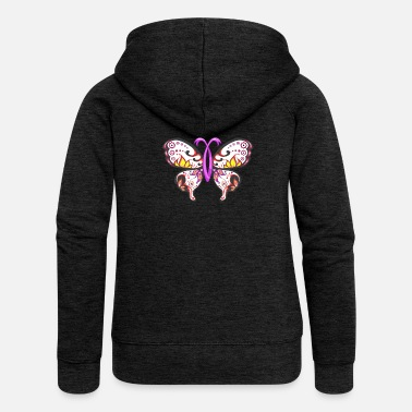 Breast Cancer Ribbon Sugar Skull Pink Ribbon Butterfly Breast Cancer - Women's Premium Hooded Jacket