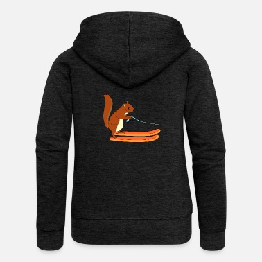 Squirrel Waterskiing Ski Squirrel Freestyle Gift Animal - Women's Premium Zip Hoodie