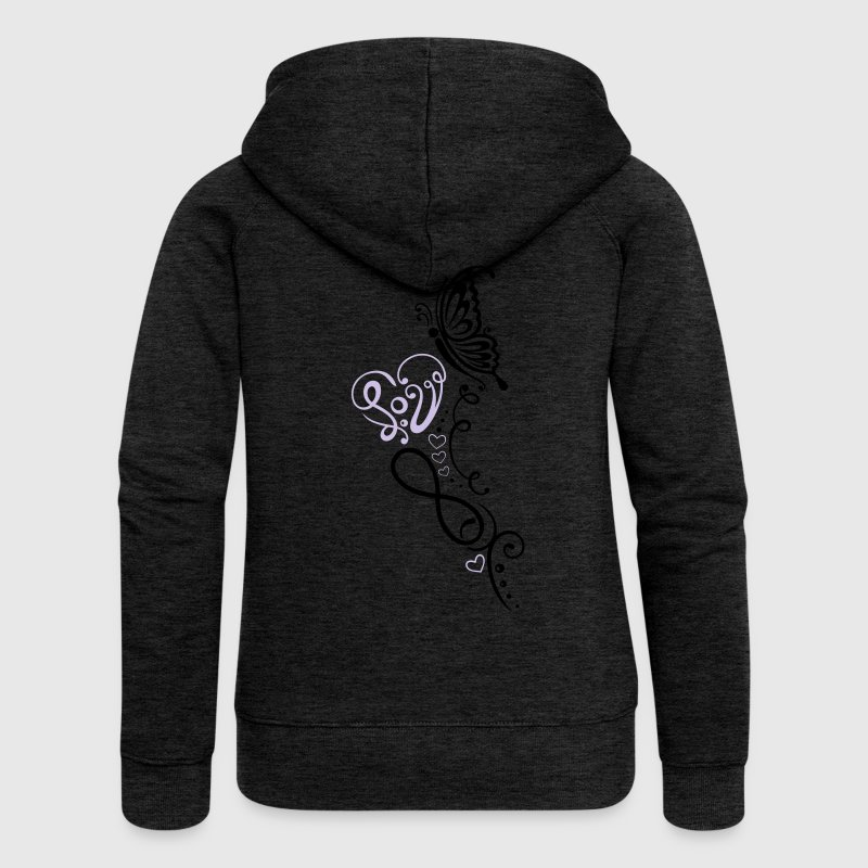 Heart with lettering, butterfly and infinity - Women's Premium Hooded Jacket