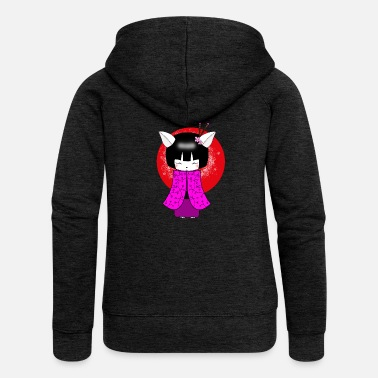 Japanese Art Kokeshi Cat Japanese art geisha - Women's Premium Zip Hoodie