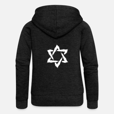 Star Star of David brush icon design New Religion - Women's Premium Zip Hoodie