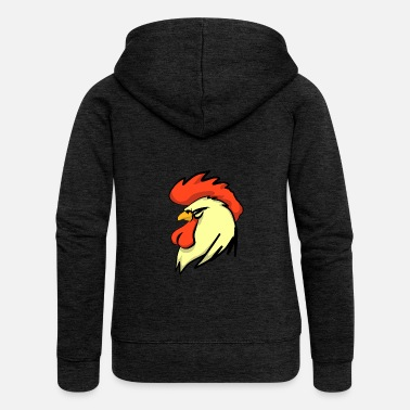 Rooster Gorgeous head of a rooster - Women's Premium Hooded Jacket