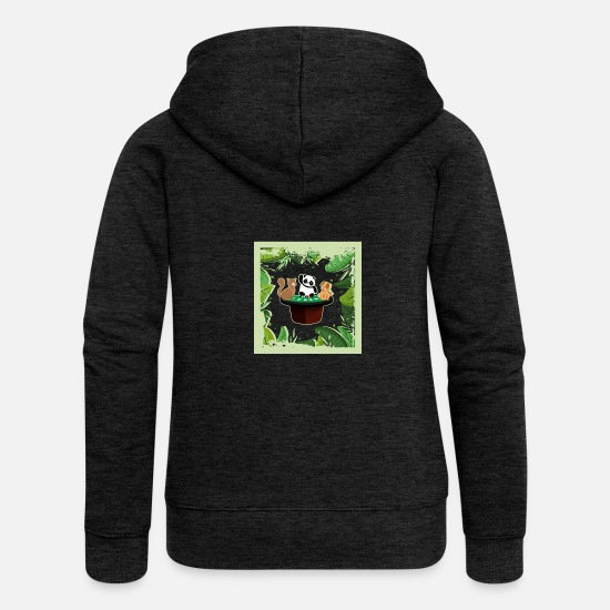 Play Poker Hoodies & Sweatshirts - Cat Panda Dog Jungle Poker - Women's Premium Zip Hoodie charcoal grey