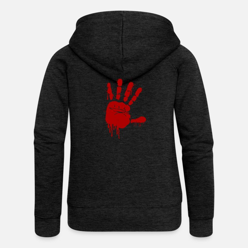 Finger Hoodies & Sweatshirts - bloody handprint for Halloween - Women's Premium Zip Hoodie charcoal grey