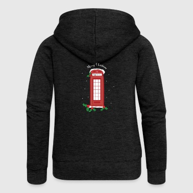London Christmas Telephone Booth Logo Gift Idea - Women's Premium Hooded Jacket