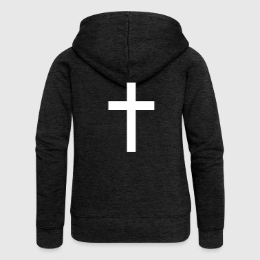 crucifix clipart black and white cross - Women's Premium Hooded Jacket