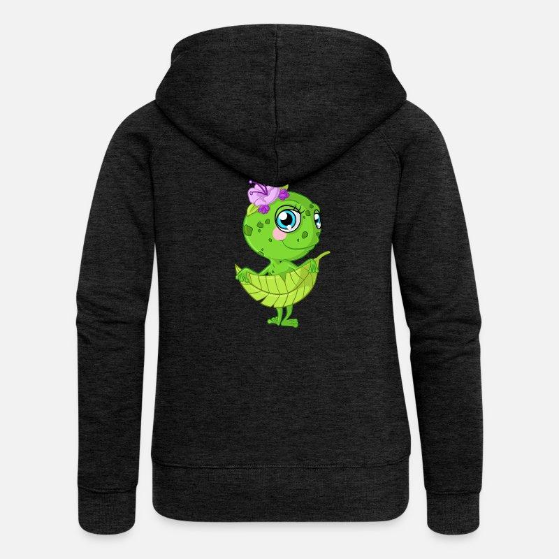 Comic Frosch Mädchen Frauen Premium Kapuzenjacke Spreadshirt