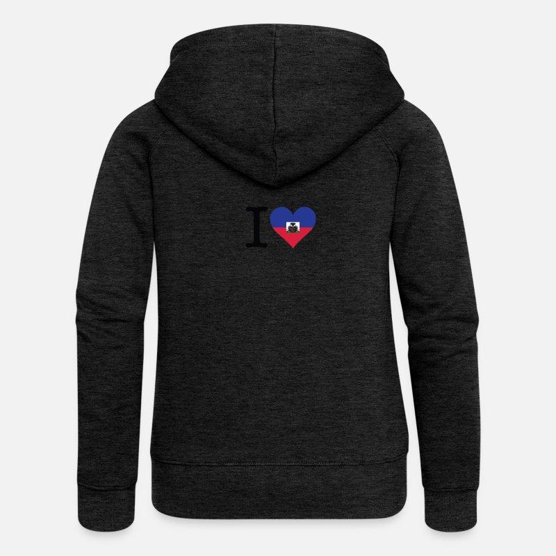 Spreadshirt Veste Haïti capuche à premium J'aime Femme Y8w1qxH