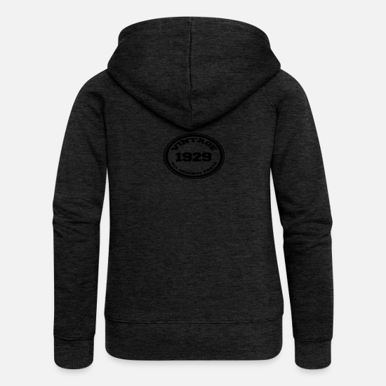 Birthday Hoodies & Sweatshirts - Year of birth / year 1929 - Women's Premium Zip Hoodie charcoal grey
