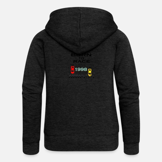 Love Hoodies & Sweatshirts - Born To Race Racing - Women's Premium Zip Hoodie charcoal grey