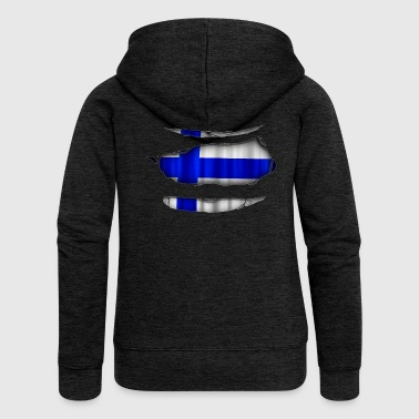 Finland flag torn 017 - Women's Premium Hooded Jacket
