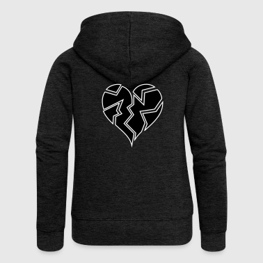 white outline blackheartbroken - Women's Premium Hooded Jacket